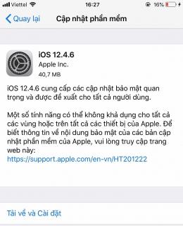 iPhone 5s được cập nhật iOS mới