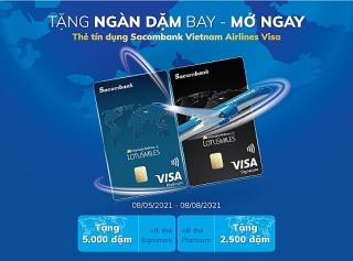 Tặng ngàn dặm bay cho khách hàngmở thẻ tín dụng Sacombank Vietnam Airlines Visa