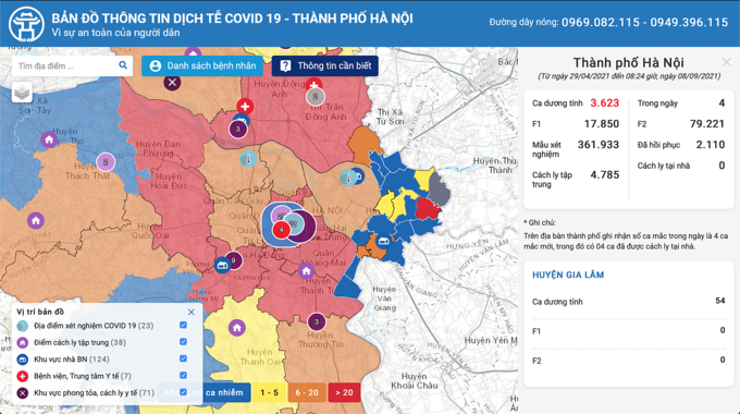 Cách tra cứu vùng xanh hay đỏ trên bản đồ Covid-19