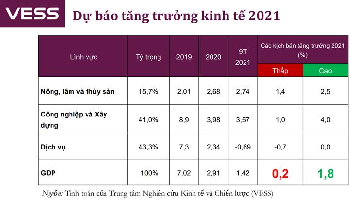 VESS: Tăng trưởng 2021 không quá 2%